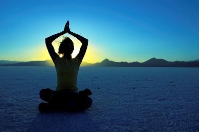 yoga asana at sunset