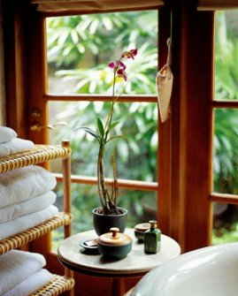 organic spa with towels